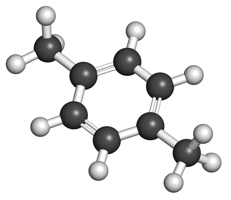methyl: Para-xylene (p-xylene) aromatic hydrocarbon molecule. Atoms are represented as spheres with conventional color coding: hydrogen (white), carbon (grey).