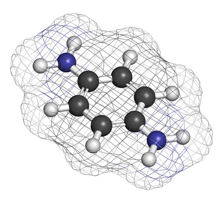 precursor: p-Phenylenediamine (PPD) hair dye molecule. Also precursor in polymer synthesis. Known contact allergen, possibly carcinogenic. Atoms are represented as spheres with conventional color coding: hydrogen (white), carbon (grey), nitrogen (blue).