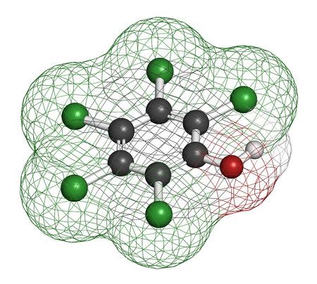 disinfectant: El pentaclorofenol (PCP) de plaguicidas y la mol�cula desinfectante. A menudo se utiliza para la conservaci�n de la madera. Los �tomos se representan como esferas con codificaci�n convencional de color: hidr�geno (blanco), de carbono (gris), cloro (verde), ox�geno (rojo). Foto de archivo
