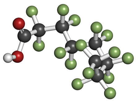 persistent: Perfluorooctanoic acid (PFOA, C8) molecule. Important and persistent pollutant. Atoms are represented as spheres with conventional color coding: hydrogen (white), carbon (grey), fluorine (green), oxygen (red).