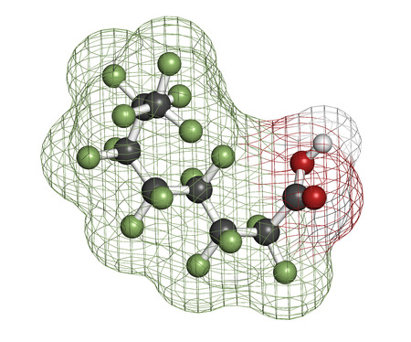 pollutant: Perfluorooctanoic acid (PFOA, C8) molecule. Important and persistent pollutant. Atoms are represented as spheres with conventional color coding: hydrogen (white), carbon (grey), fluorine (green), oxygen (red).