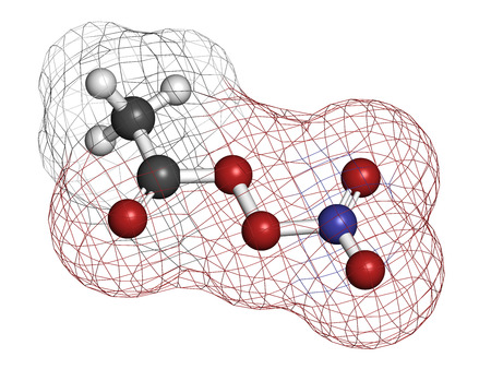 pollutant: Peroxyacetyl nitrate (PAN) pollutant molecule. Secondary pollutant, found in photochemical smog. Further decomposes into peroxyethanol radical and nitrogen dioxide. Atoms are represented as spheres with conventional color coding: hydrogen (white), carbon