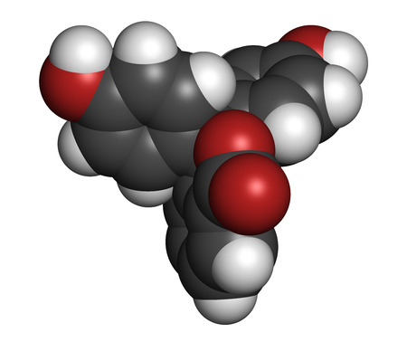 titration: Phenolphthalein indicator molecule. Used in acid base titrations and as laxative. Atoms are represented as spheres with conventional color coding: hydrogen (white), carbon (grey), oxygen (red).