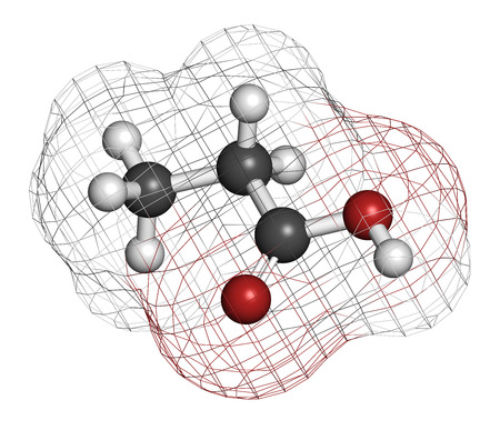 preservative: Propionic acid (propanoic acid) molecule. Used as preservative in food. Atoms are represented as spheres with conventional color coding: hydrogen (white), carbon (grey), oxygen (red). Stock Photo