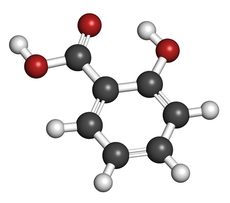 Salicylic acid molecule. Used in cosmetics, in dermatological medicines, etc. Atoms are represented as spheres with conventional color coding: hydrogen (white), carbon (grey), oxygen (red).