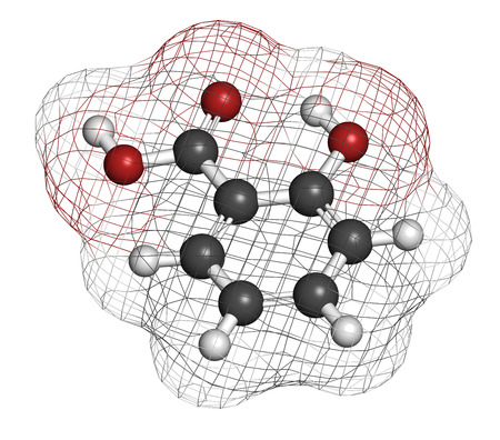 salicylate: Salicylic acid molecule. Used in cosmetics, in dermatological medicines, etc. Atoms are represented as spheres with conventional color coding: hydrogen (white), carbon (grey), oxygen (red).
