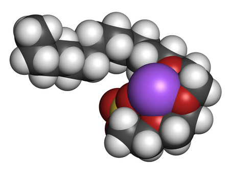 sulfate: Sodium laureth sulphate detergent molecule. Used in cosmetics, soaps, shampoos, etc. Atoms are represented as spheres with conventional color coding: hydrogen (white), carbon (grey), sodium (purple), oxygen (red), sulfur (yellow).