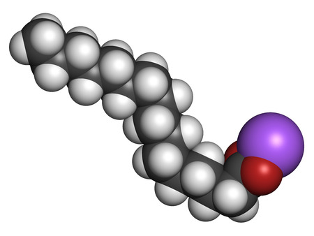 Sodium palmitate soap molecule. Prepared from palm oil by saponification. Atoms are represented as spheres with conventional color coding: hydrogen (white), carbon (grey), sodium (purple), oxygen (red). photo