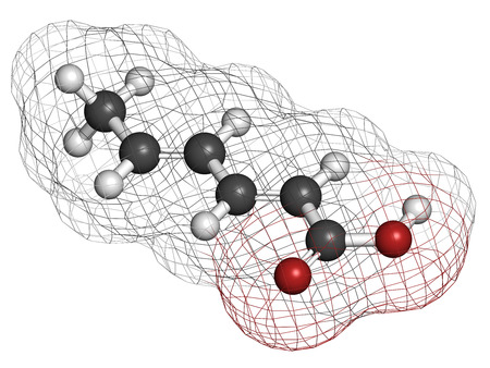 preservative: Sorbic acid food preservative molecule. Sorbate (sodium, potassium, calcium) is also used for the same purpose. Atoms are represented as spheres with conventional color coding: hydrogen (white), carbon (grey), oxygen (red). Stock Photo