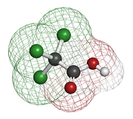 acetic: Trichloroacetic acid (TCA) molecule. Used in dermatological treatment of warts and related skin conditions. Atoms are represented as spheres with conventional color coding: hydrogen (white), carbon (grey), oxygen (red), chlorine (green).