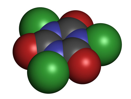 bleaching: Trichloroisocyanuric acid (TCCA) molecule. Used as swimming pool disinfectant, in civil sanitation, as bleaching agent, etc. Atoms are represented as spheres with conventional color coding: hydrogen (white), carbon (grey), nitrogen (blue), oxygen (red), c