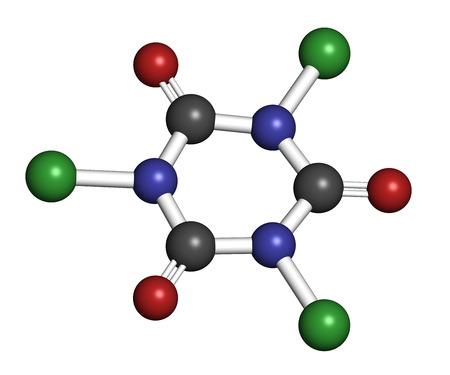 desinfectante: �cido tricloroisocian�rico (ATCC) mol�cula. Se utiliza como desinfectante de la piscina, en el saneamiento civil, agente blanqueador, etc Los �tomos se representan como esferas con codificaci�n convencional color: hidr�geno (blanco), el carb�n (gris), nitr�geno (azul), el ox�geno (roja), c Foto de archivo