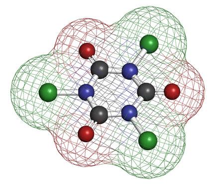 disinfectant: �cido tricloroisocian�rico (ATCC) mol�cula. Se utiliza como desinfectante de la piscina, en el saneamiento civil, agente blanqueador, etc Los �tomos se representan como esferas con codificaci�n convencional color: hidr�geno (blanco), el carb�n (gris), nitr�geno (azul), el ox�geno (roja), c Foto de archivo