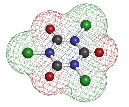 Trichloroisocyanuric acid (TCCA) molecule. Used as swimming pool disinfectant, in civil sanitation, as bleaching agent, etc. Atoms are represented as spheres with conventional color coding: hydrogen (white), carbon (grey), nitrogen (blue), oxygen (red), c