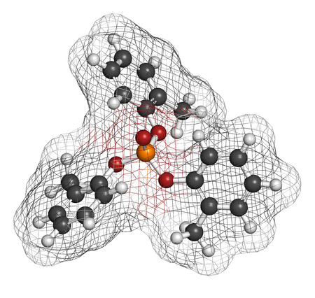 tcp: Tricresyl phosphate (TCP) molecule. Used as plasticizer, for waterproofing, as flame retardant, etc. Known to be neurotoxin. Atoms are represented as spheres with conventional color coding: hydrogen (white), carbon (grey), oxygen (red), phosphorus (orange