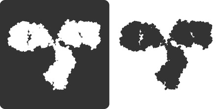 immunoglobulin: Antibody molecule, flat icon style. stylized silhouette of an IgG2a immunoglobulin.