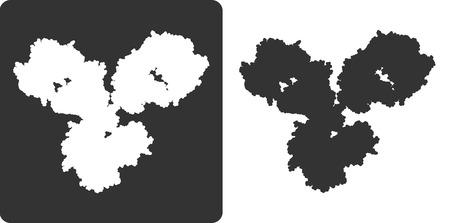 antibodies: Antibody molecule, flat icon style. stylized silhouette of an IgG1 immunoglobulin.