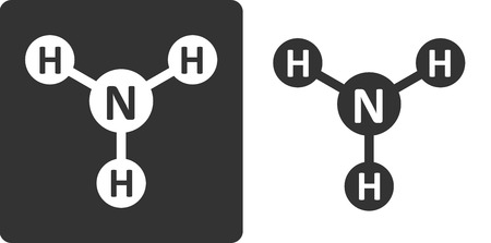 chemical cleaning: Ammonia (NH3) molecule, flat icon style. Atoms shown as circles. Illustration