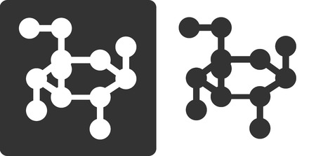 clarity: Glucose sugar molecule, flat icon style. Stylized rendering of a beta-D-glucose molecule. Carbon and oxygen atoms shown as circles, hydrogen atoms omitted for clarity.