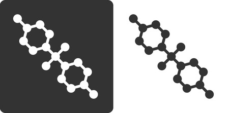 bpa: Bisphenol A (BPA) plastic pollutant molecule, flat icon style. Stylized rendering. Carbon and oxygen atoms rendered as circles, hydrogen atoms omitted.