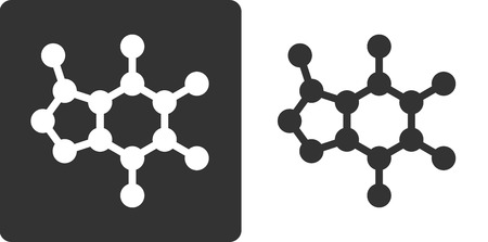 omitted: Caffeine molecule, , flat icon style. Stylized rendering. Carbon, oxygen and nitrogen atoms shown as circles. Hydrogen atoms omitted.