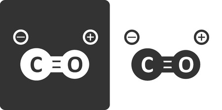 monoxide: Carbon monoxide molecule, , flat icon style. Stylized rendering.