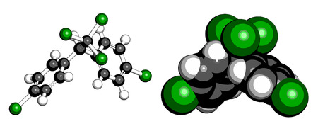 pollutant: DDT (dichlorodiphenyltrichloroethane) molecule. Controversial pesticide, used in agriculture and for malaria disease vector control. Atoms are represented as spheres with conventional color coding: hydrogen (white), carbon (grey), chlorine (green). Illustration