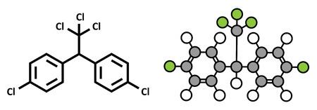 pesticida: DDT (dicloro difenil tricloroetano) mol�cula. Pesticidas Controvertido, utilizado en la agricultura y para el control de vectores de enfermedades malaria. F�rmula del esqueleto convencional y estilizada representaci�n 2D. Vectores