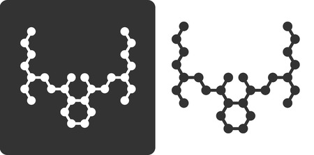 omitted: DEHP phthalate plasticizer molecule, flat icon style. Carbon and oxygen atoms shown as circles, hydrogen atoms omitted. Illustration