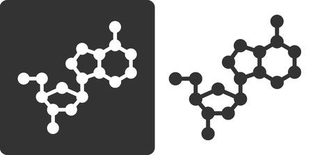 recombinant: Deossiadenosina (dA) building block DNA, piatto icona di stile. Atomi di ossigeno, carbonio e azoto visualizzati come cerchi; Gli atomi di idrogeno omessi.