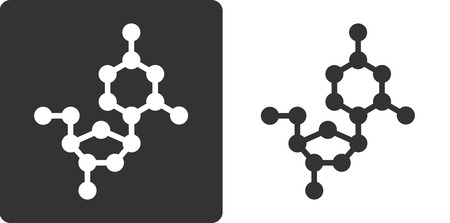 omitted: Deoxycytidine (dC) DNA building block, flat icon style. Oxygen, carbon and nitrogen atoms shown as circles; Hydrogen atoms omitted. Illustration