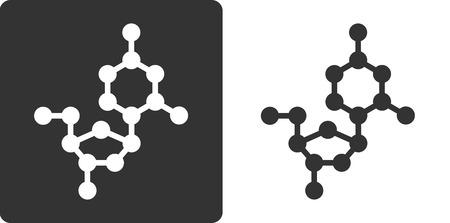 recombinant: Desossicitidina (dC) building block DNA, piatto icona di stile. Atomi di ossigeno, carbonio e azoto visualizzati come cerchi; Gli atomi di idrogeno omessi. Vettoriali
