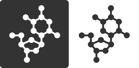 omitted: Deoxythymidine (dT) DNA building block, flat icon style. Oxygen, carbon and nitrogen atoms shown as circles; Hydrogen atoms omitted.
