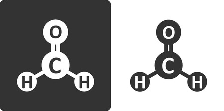 carcinogen: Formaldehyde pollutant molecule, flat icon style. Atoms shown as circles. Known carcinogen.