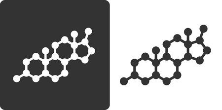 Testosteron-Molekül, flach Stil-Ikone. Vereinfachte Struktur von Testosteron, DHEA und verwandte Steroidhormone. Standard-Bild - 25767654
