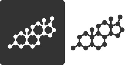 Testosterone hormone molecule, flat icon style. Simplified structure of testosterone, DHEA and related steroid hormones.