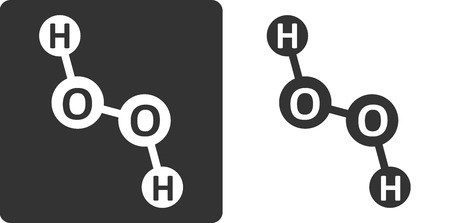 peroxide: Hydrogen peroxide (H2O2) molecule, flat icon style. Atoms shown as circles.