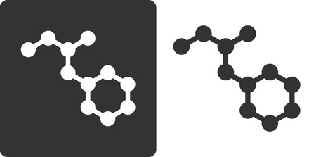 Methamphetamine (crystal meth) drug molecule, flat icon style. Nitrogen and carbon atoms shown as circles; hydrogen atoms omitted. Vector