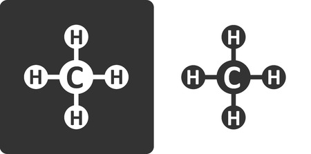 Methane (CH4) natural gas molecule, flat icon style. Atoms shown as circles. Vector