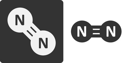 refrigerant: Nitrogen (N2) gas molecule, flat icon style. Atoms shown as circles. Illustration