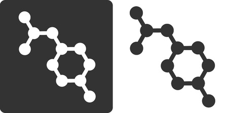 Paracetamol (acetaminophen) drug molecule, flat icon style. Oxygen, nitrogen and carbon atoms shown as circles, hydrogen atoms omitted. Illustration