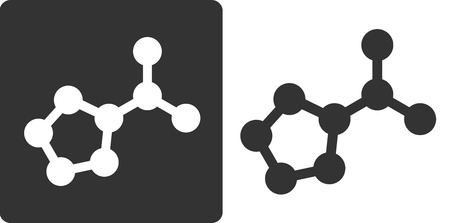 Proline amino acid molecule, flat icon style. Carbon, nitrogen and oxygen atoms shown as circles. Ilustração