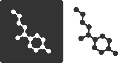 preservative: Propylparaben paraben preservative molecule, flat icon style. Oxygen and carbon atoms shown as circles, hydrogen atoms omitted. Illustration
