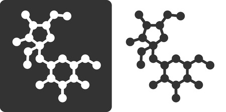 sucrose: Sugar (sucrose, saccharose) molecule, flat icon style. Oxygen and carbon atoms shown as circles, hydrogen atoms omitted. Illustration