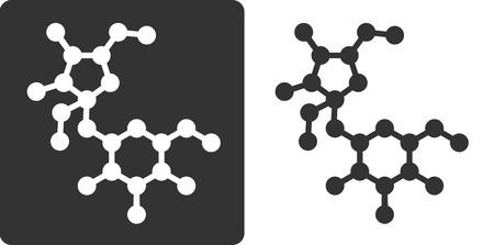 Sugar (sucrose, saccharose) molecule, flat icon style. Oxygen and carbon atoms shown as circles, hydrogen atoms omitted. Illusztráció