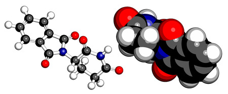 Thalidomide teratogenic drug molecule. Cartoon representations, atoms are shown as conventionally colored spheres.