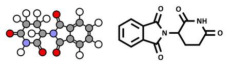 myeloma: Thalidomide teratogenic drug molecule. Stylized 2D representation and standard skeletal formula. Illustration