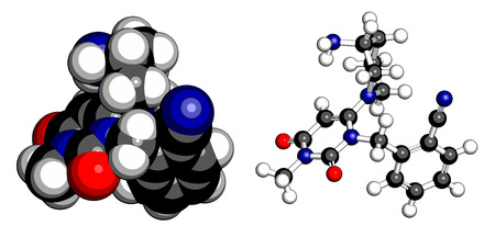 metformin: Alogliptin diabetes drug molecule. Belongs to dipeptidyl peptidase 4 (DPP-4) or gliptin class of antidiabetic medicines. Atoms are represented as spheres with conventional color coding: hydrogen (white), carbon (grey), oxygen (red), nitrogen (blue). Illustration