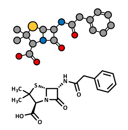 su: Penicillin G (benzylpenicillin) antibiotic drug molecule. Used to treat bacterial infections; belongs to beta-lactam class. Atoms are represented as spheres with conventional color coding: hydrogen (white), carbon (grey), oxygen (red), nitrogen (blue), su Illustration