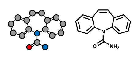 adhd: Carbamazepine anticonvulsant and mood stabilizing drug molecule. Used to treat epilepsy (convulsions), bipolar disorder and a number of other diseases. Atoms are represented as spheres with conventional color coding: hydrogen (white), carbon (grey), oxyge